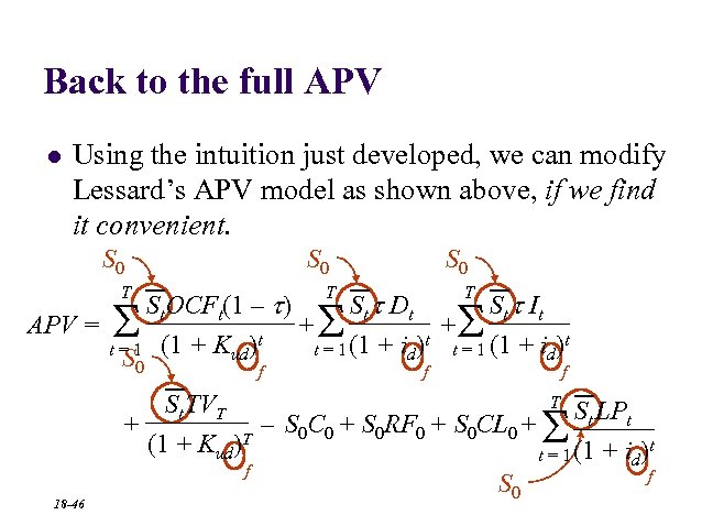 Back to the full APV l Using the intuition just developed, we can modify