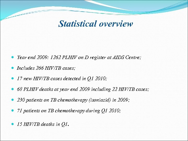 Statistical overview Year end 2009: 1262 PLHIV on D register at AIDS Centre; Includes