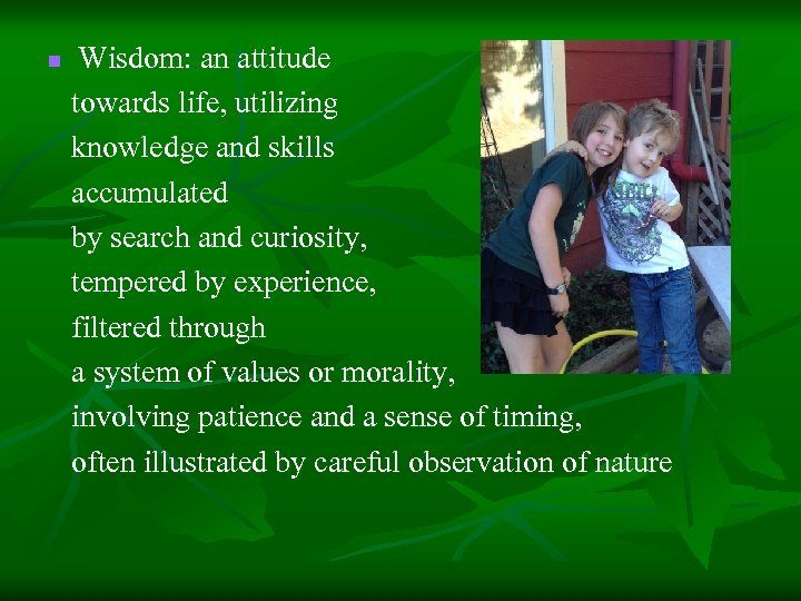 Wisdom: an attitude towards life, utilizing knowledge and skills accumulated by search and curiosity,