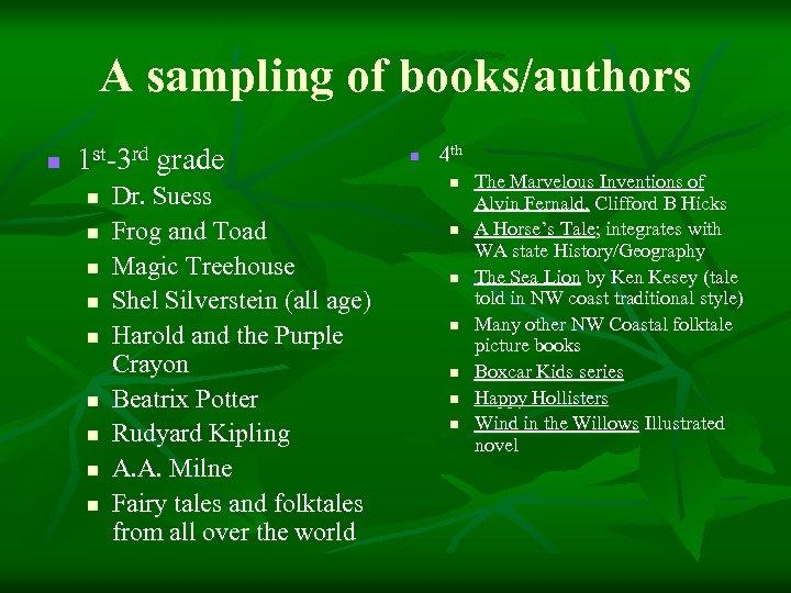 A sampling of books/authors n 1 st-3 rd grade n n n n n