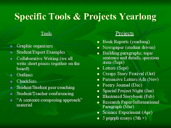 Specific Tools & Projects Yearlong Projects Tools n n n n Graphic organizers Student/Expert