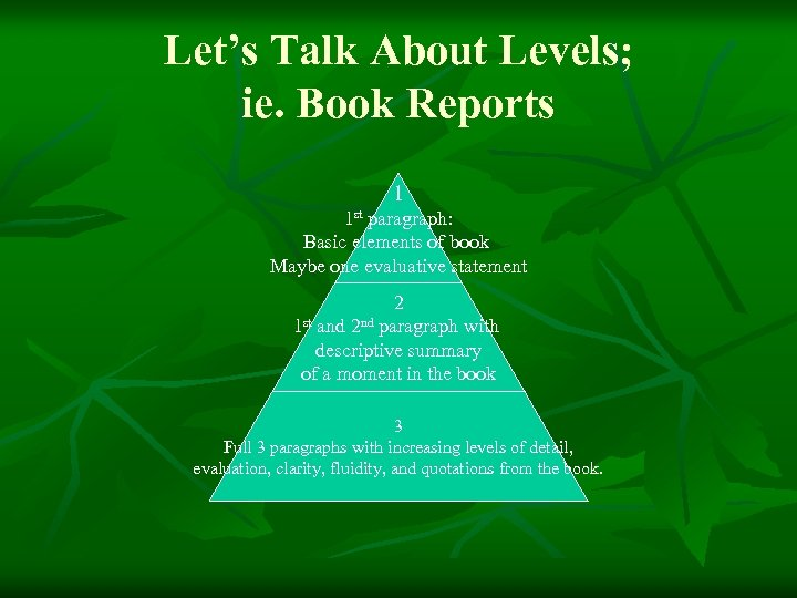 Let's Talk About Levels; ie. Book Reports 1 1 st paragraph: Basic elements of