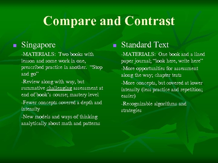 Compare and Contrast n Singapore -MATERIALS: Two books with lesson and some work in