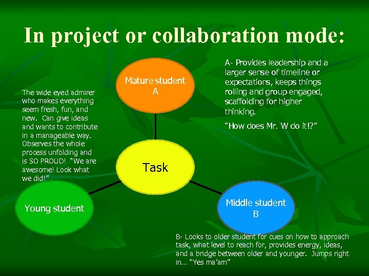In project or collaboration mode: The wide eyed admirer who makes everything seem fresh,