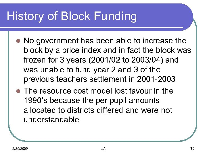History of Block Funding No government has been able to increase the block by