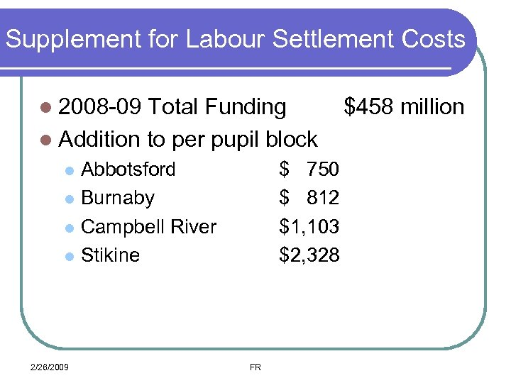 Supplement for Labour Settlement Costs l 2008 -09 Total Funding l Addition to per