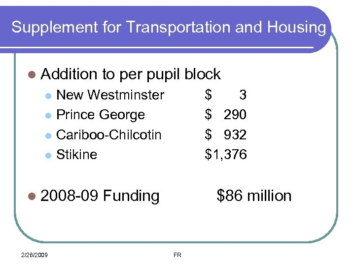 Supplement for Transportation and Housing l Addition to per pupil block New Westminster l