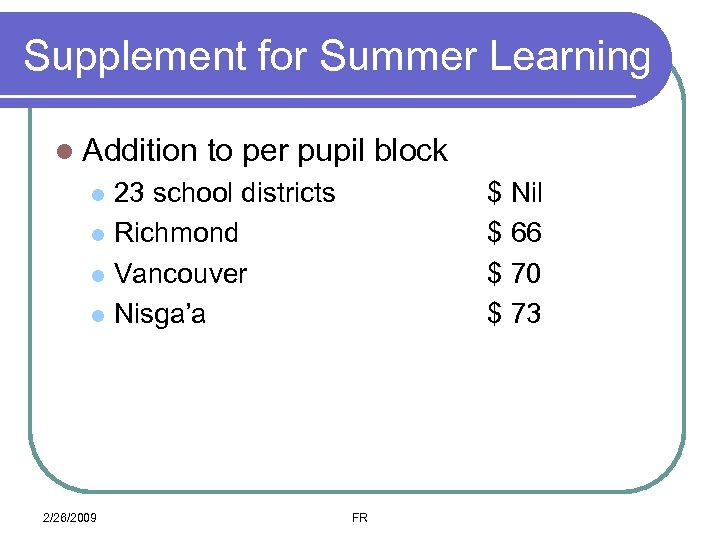 Supplement for Summer Learning l Addition to per pupil block 23 school districts l