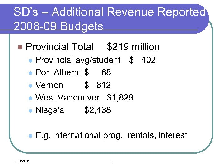 SD's – Additional Revenue Reported 2008 -09 Budgets l Provincial Total $219 million Provincial
