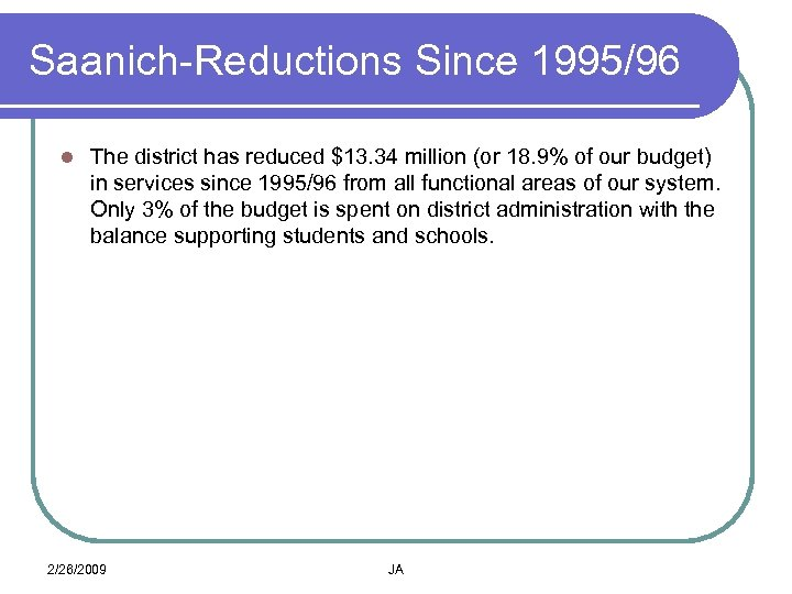 Saanich-Reductions Since 1995/96 l The district has reduced $13. 34 million (or 18. 9%