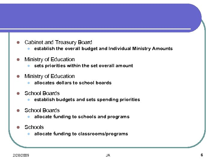 l Cabinet and Treasury Board l l Ministry of Education l l establish budgets