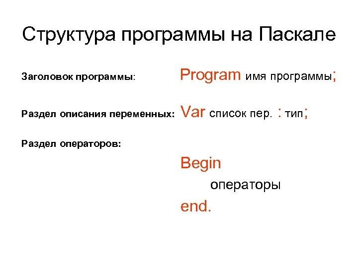 Структура программы на Паскале Заголовок программы: Program имя программы; Раздел описания переменных: Var список