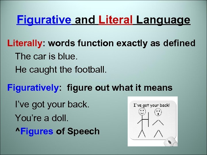 Figurative and Literal Language Literally: words function exactly as defined The car is blue.
