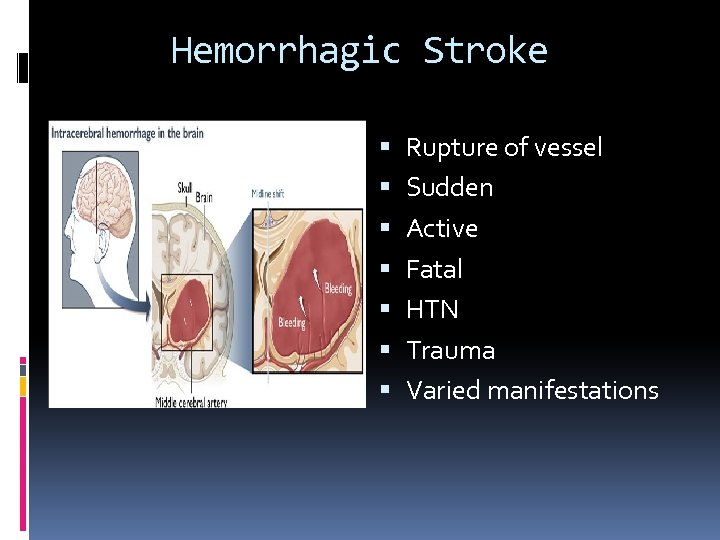 Hemorrhagic Stroke Rupture of vessel Sudden Active Fatal HTN Trauma Varied manifestations