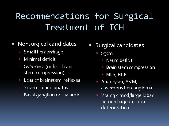 Recommendations for Surgical Treatment of ICH Nonsurgical candidates Small hemorrhage Minimal deficit GCS </=