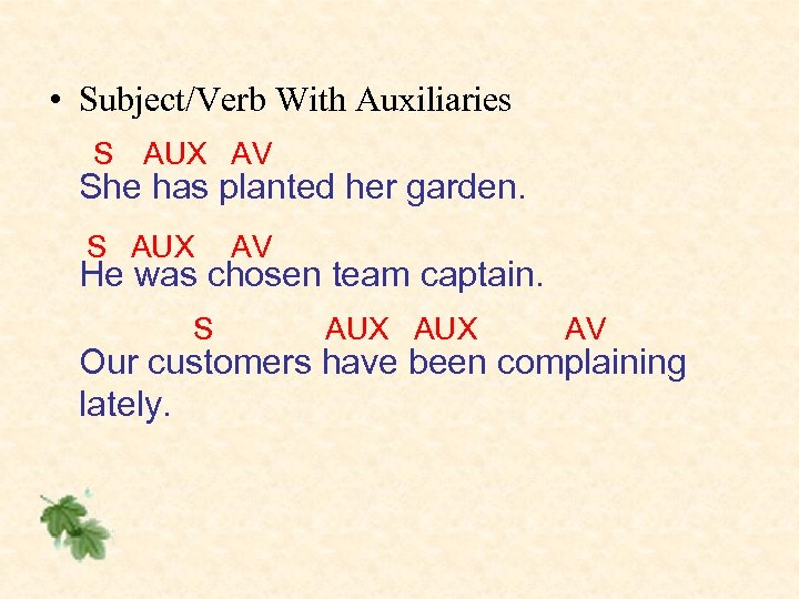 • Subject/Verb With Auxiliaries S AUX AV She has planted her garden. S