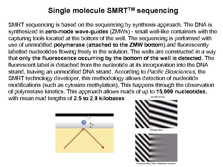 Single molecule SMRTTM sequencing SMRT sequencing is based on the sequencing by synthesis approach.