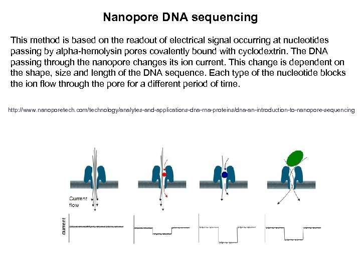 Nanopore DNA sequencing This method is based on the readout of electrical signal occurring