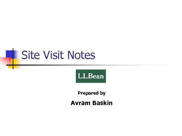 Site Visit Notes Prepared by Avram Baskin