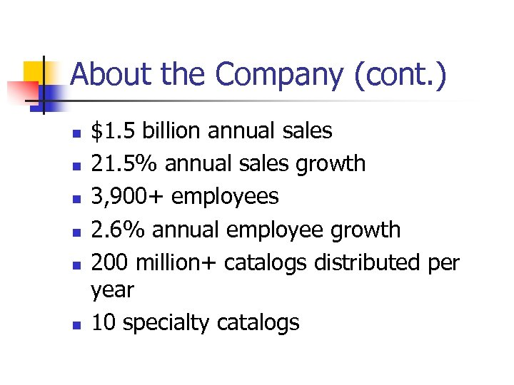 About the Company (cont. ) n n n $1. 5 billion annual sales 21.