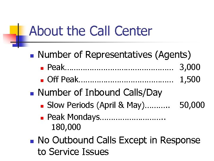 About the Call Center n Number of Representatives (Agents) n n n Number of