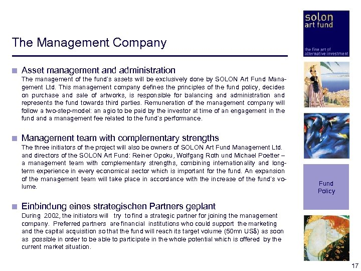 The Management Company < Asset management and administration < The management of the fund's