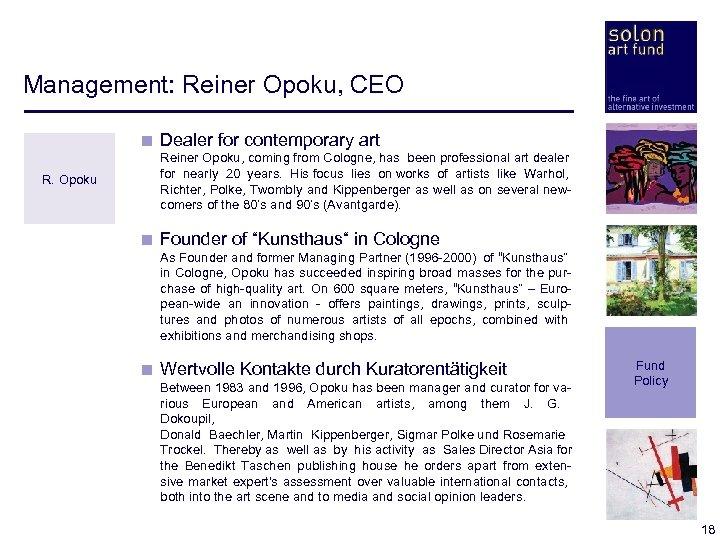 Management: Reiner Opoku, CEO < Dealer for contemporary art R. Opoku < Reiner Opoku,