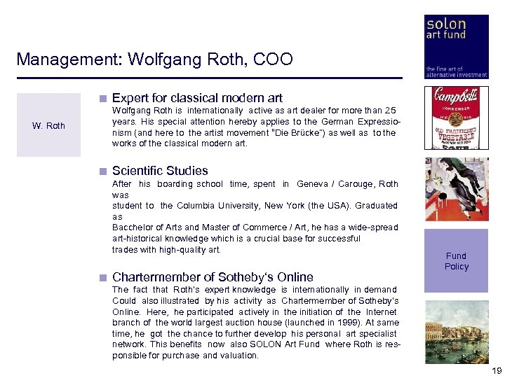 Management: Wolfgang Roth, COO < Expert for classical modern art W. Roth < Wolfgang
