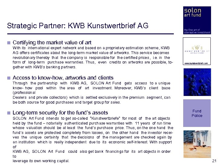 Strategic Partner: KWB Kunstwertbrief AG < Certifying the market value of art < <