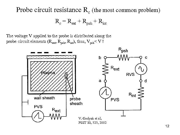 Probe circuit resistance Rc (the most common problem) Rc = Rext + Rpsh +