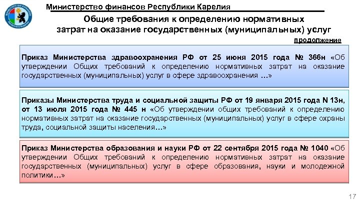 Министерство финансов Республики Карелия Общие требования к определению нормативных затрат на оказание государственных (муниципальных)