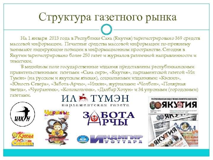 Структура газетного рынка На 1 января 2013 года в Республике Саха (Якутия) зарегистрировано 369