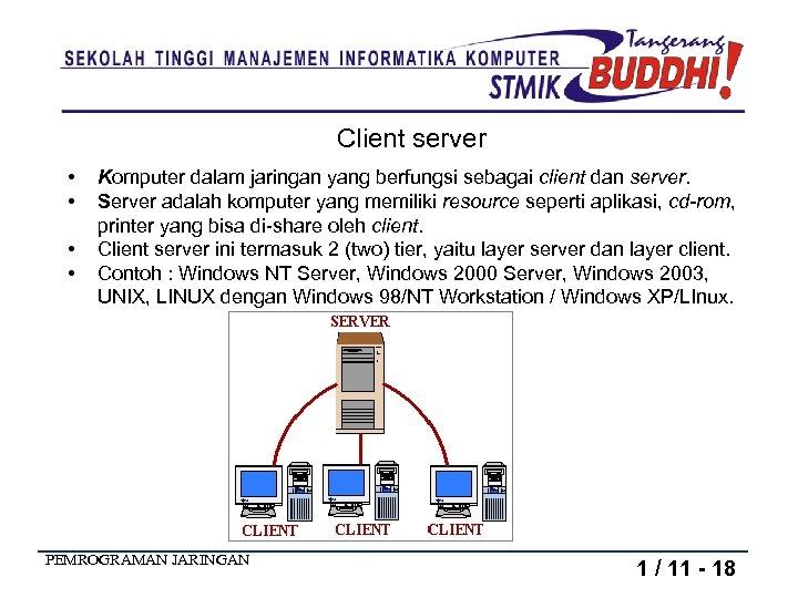 Client server • • Komputer dalam jaringan yang berfungsi sebagai client dan server. Server