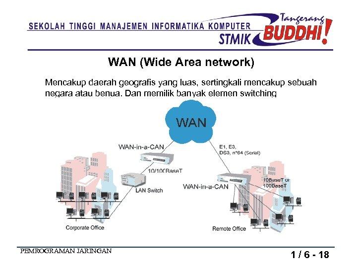 WAN (Wide Area network) Mencakup daerah geografis yang luas, sertingkali mencakup sebuah negara atau
