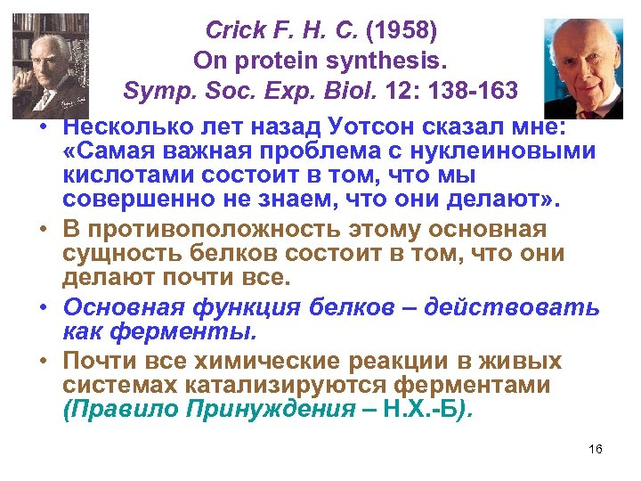 • • Crick F. H. C. (1958) On protein synthesis. Symp. Soc. Exp.