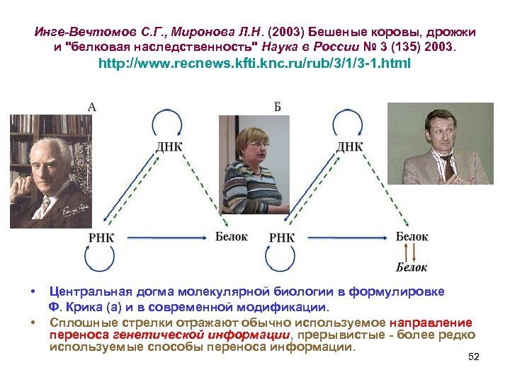 Инге-Вечтомов С. Г. , Миронова Л. Н. (2003) Бешеные коровы, дрожжи и