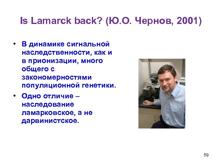 Is Lamarck back? (Ю. О. Чернов, 2001) • В динамике сигнальной наследственности, как и
