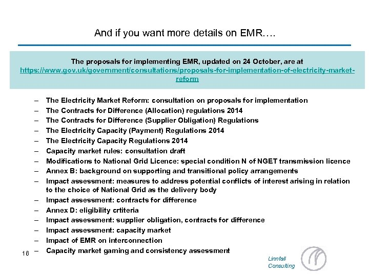 And if you want more details on EMR…. The proposals for implementing EMR, updated
