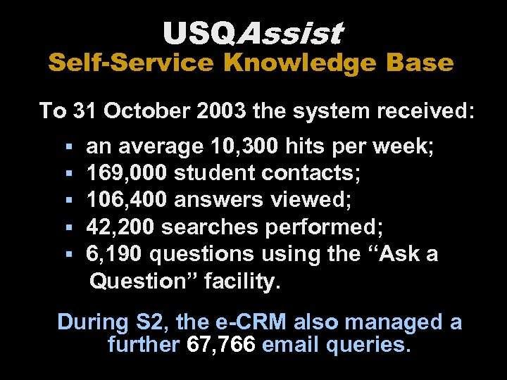 USQAssist Self-Service Knowledge Base To 31 October 2003 the system received: § § §