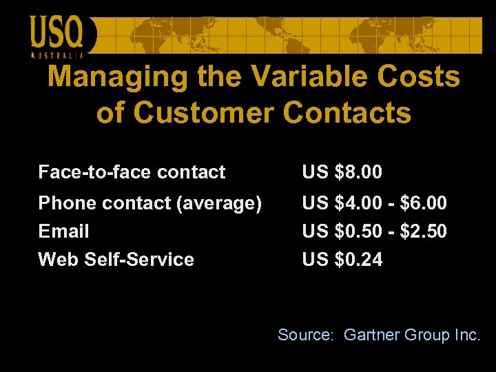 Managing the Variable Costs of Customer Contacts Face-to-face contact US $8. 00 Phone contact