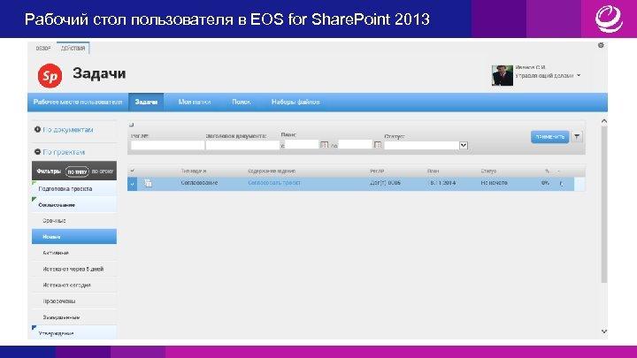 Рабочий стол пользователя в EOS for Share. Point 2013