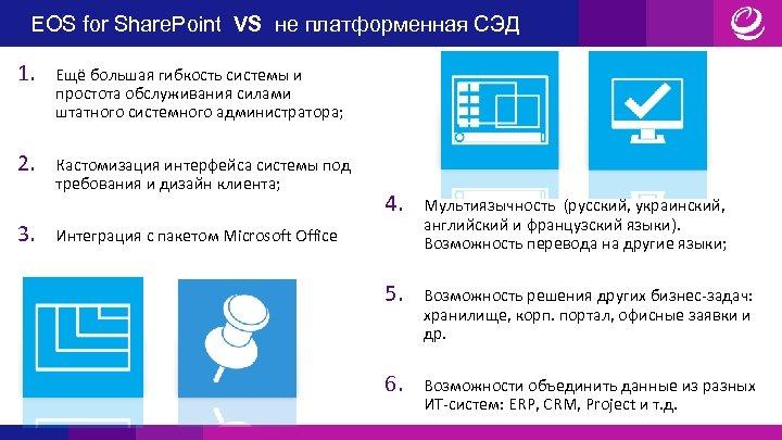 EOS for Share. Point VS не платформенная СЭД 1. Ещё большая гибкость системы и