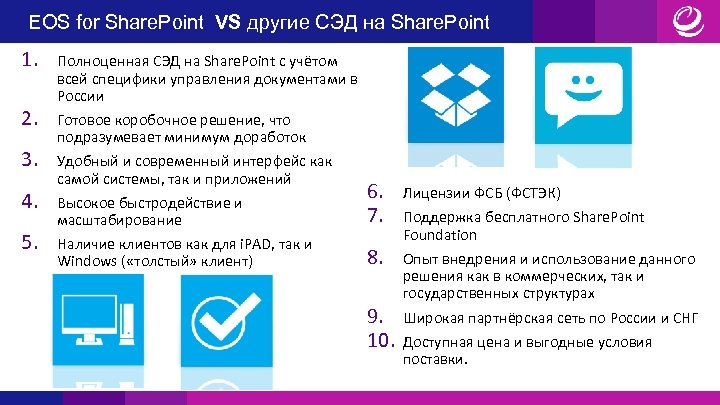 EOS for Share. Point VS другие СЭД на Share. Point 1. 2. 3. 4.