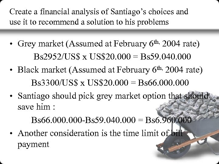 Create a financial analysis of Santiago's choices and use it to recommend a solution