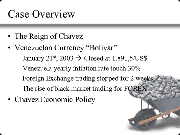 """Case Overview • The Reign of Chavez • Venezuelan Currency """"Bolivar"""" – January 21"""