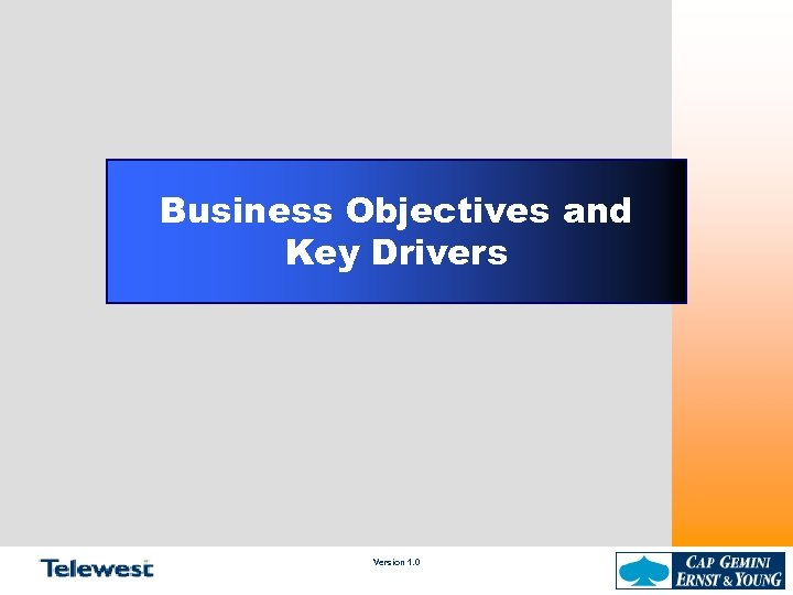 Business Objectives and Key Drivers Version 1. 0