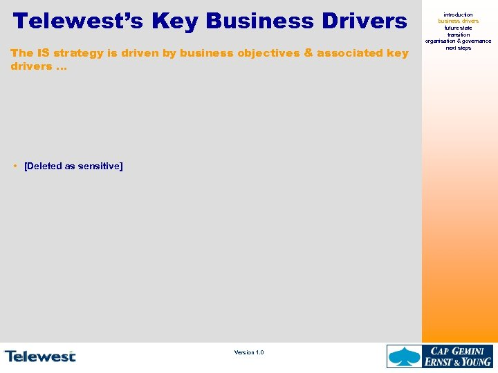 Telewest's Key Business Drivers The IS strategy is driven by business objectives & associated