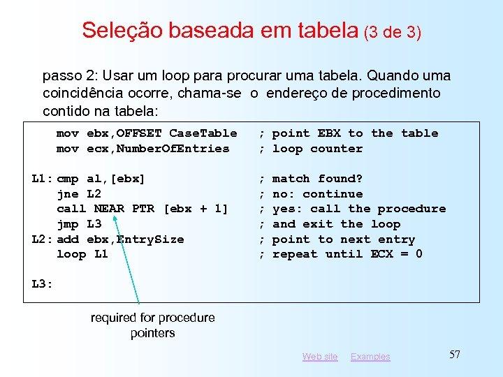 Seleção baseada em tabela (3 de 3) passo 2: Usar um loop para procurar