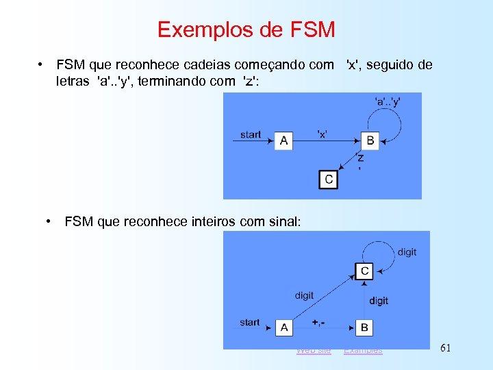 Exemplos de FSM • FSM que reconhece cadeias começando com 'x', seguido de letras