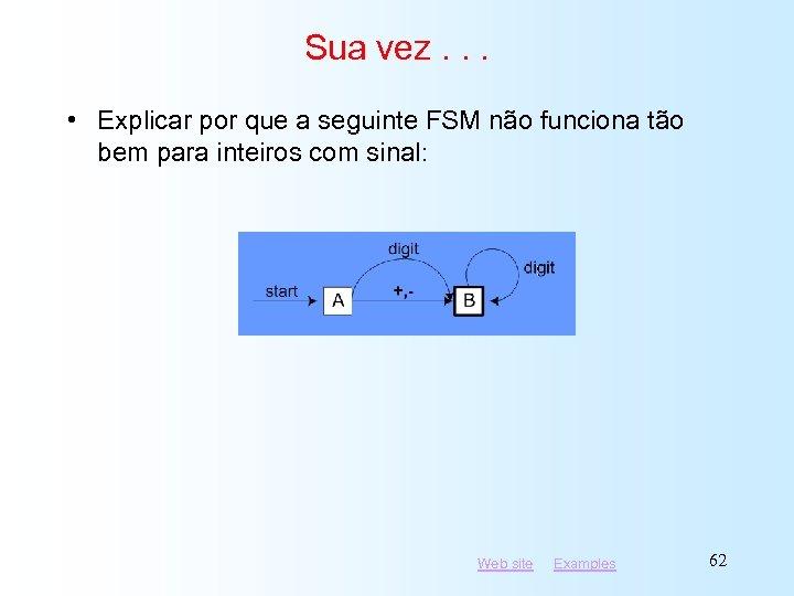 Sua vez. . . • Explicar por que a seguinte FSM não funciona tão